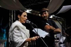 Nadia Mifsud. Awissu 2014, waqt il-Festival Mediterranju tal-Letteratura ta' Malta, ma' Antoine Cassar. Ritratt ta' Virginia Monteforte.